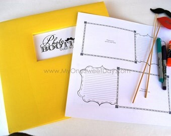 4x6 Photo booth Scrap Book Wedding Guest Book Vintage Mustache Yellow Spring or Summer wedding theme