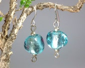 Sea foam and silver handmade glass bead earrings