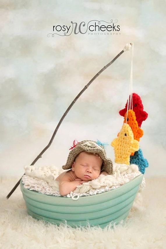 Baby fishing hat set boy girl fisherman by bellamariesboutique for Toddler fishing hat