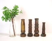Four brass hose nozzles - vintage brass garden hose sprayers - shabby rustic collection for decorating or upcycling - industrial chic