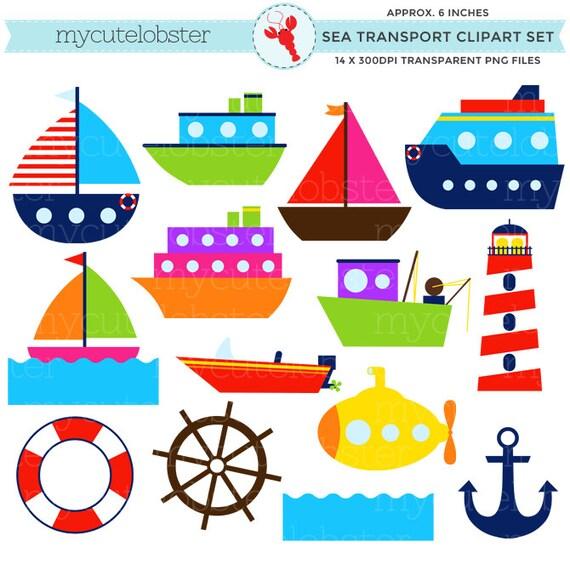 Sea Transport Clipart Set Clip Art Set Of Boats Ocean