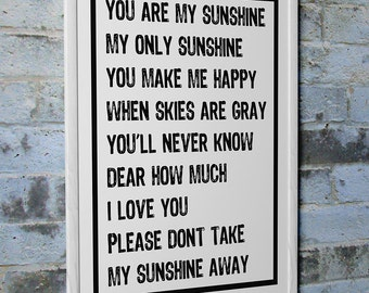 "Kid's Room Art ""You Are My Sunshine My Only Sunshine"" Wall Photo Print Poster Decor"