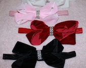 YOU PICK Pink Black White Red Boutique Chunky Velvet Bow on Elastic Headband Photo prop - Many sizes available