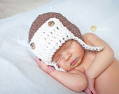 Crochet Aviator Hat for Baby - Brown with Cream Front & Trim  - Preemie - 12 months