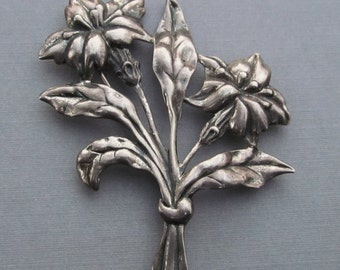 Antique Danecraft Solid Sterling Silver Flower Brooch Art Deco Pin Jewelry