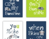 Elephant Art, You are my sunshine Navy Blue and Lime Green Art Prints, 4-8x10 prints, Matches Boy or Girl Nursery, nursery, or playroom