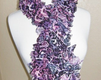 Handmade Knitted Soft Ruffled Fabric Boa Scarf Purple Panther Print