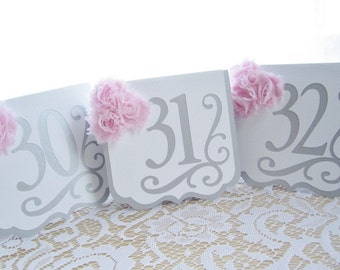 Silver and White Wedding Table Numbers With Pale Pink Accents - Table Number Cards - Table Number Signs - Table Numbers Wedding - Tented