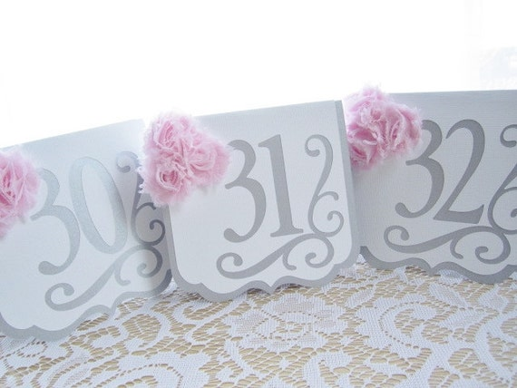 "Wedding Table Numbers - ""Flourish"" in Silver and White w/ Pale Pink Blush Chiffon Accents - Choose Your Colors"