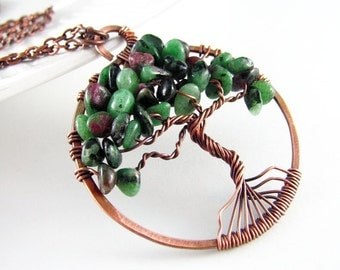 Tree of Life Necklace Wire Wrapped Jewelry Tree of Life Pendant Copper Jewelry Ruby Zoisite Wire Wrapped Necklace Copper Necklace