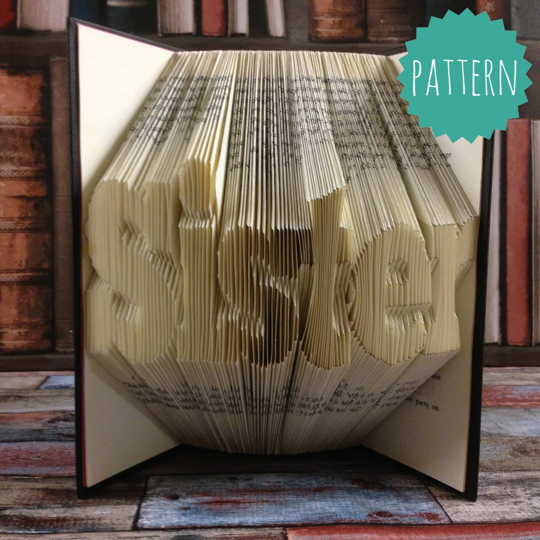 folded book art sister word pattern  u0026 tutorial gift