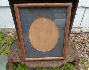 Vintage Rounded Oak Grain Solid Wood Large Picture Frame Vertical Wall Hanging 11 x14 1980s