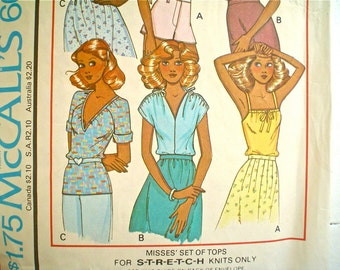 Cute 1970s Blouse Pattern McCall's 6009 for Knits Size 6-8