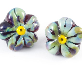 Glass shank buttons pair of green and purple flowers