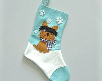 Yorkshire Terrier Dog Personalized Christmas Stocking by Allenbrite Studio
