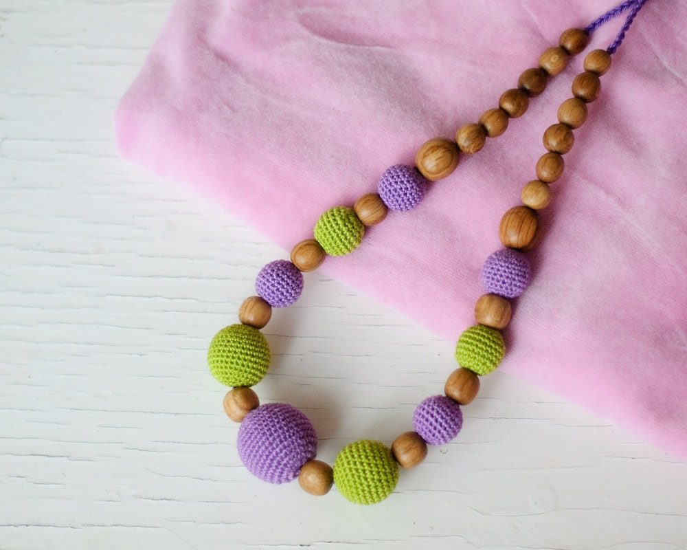 Purple Amp Green Nursing Necklace Teething Necklace For Mom To
