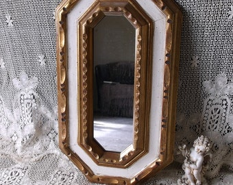 Vintage 1970s Florentine style, carved wood mirror, Gold and Ivory White, time worn