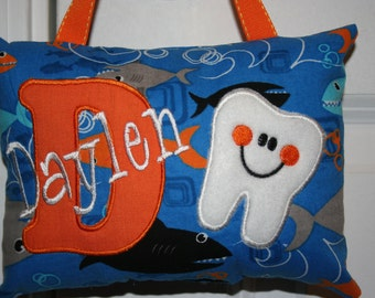 Tooth Fairy Pillow Boys Personalized - Ocean - Fish - Shark - Tooth Chart - Kids Gift - Birthday - Milestone - Baby Gift