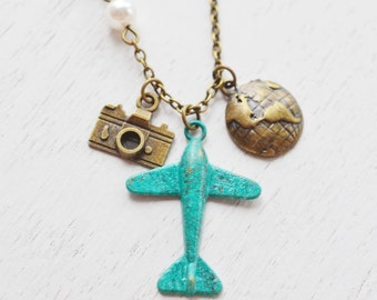airplane necklace, aviation, aeroplane necklace, globetrotter, world traveler, camera necklace, patina plane aircraft travel, christmas gift