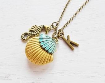 seashell locket clam shell locket pendant,patina mermaids shell locket,personalised necklace,sea horse necklace,ocean nautical,initial gift