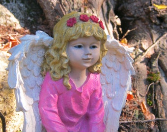 Angel Girl Concrete Garden Statue, Painted Cement Figure, Angelic Kneeling Girl