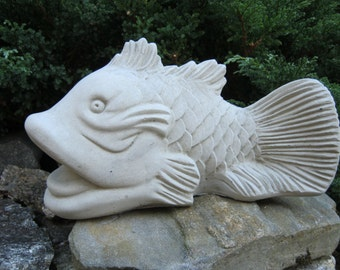 Koi Fish Statue, Good Fortune Symbol, Feng Shui Cement Figure, Chinese Decor