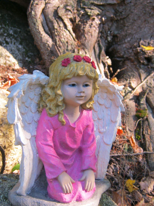 Angel Girl Concrete Garden Statue Painted Cement Figure