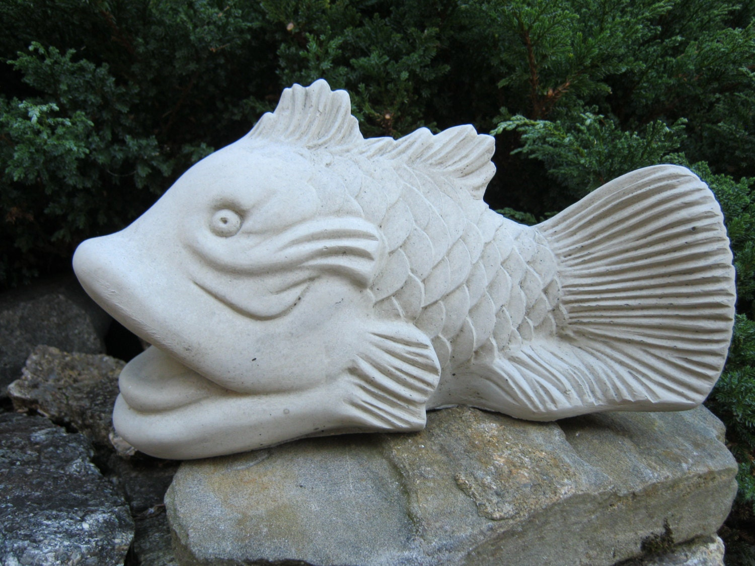 koi fish statue good fortune symbol feng shui cement figure