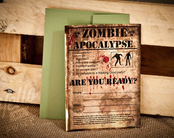 Zombie Party Invitation - INSTANT DOWNLOAD - Editable PDF Printable