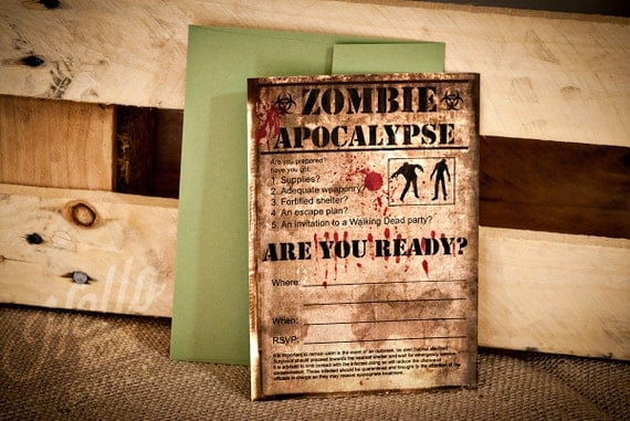 Zombie Invitation - INSTANT DOWNLOAD