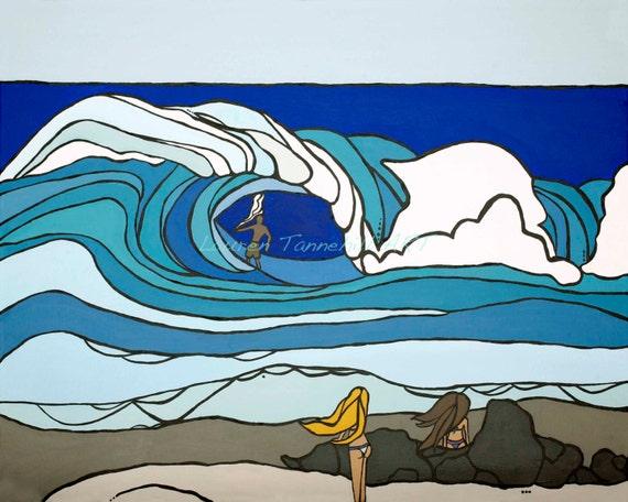 8x10 Giclee Print Beautiful Ladies Watching Surfer, Bonzai Pipeline, Hawaii by Lauren Tannehill ART