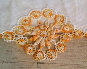 Orange Table Linens Linen Crochet Table Cloth