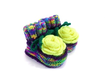 Knitted Baby Booties - Spring Neon, 3 - 6 months