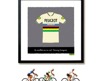 Bike Art Print, World Road Race Championship, Tommy Simpson, Rainbow Jersey Print