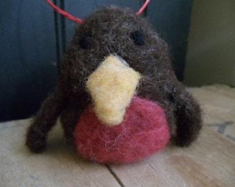 Needle Felted Little Brown Bird Ornament