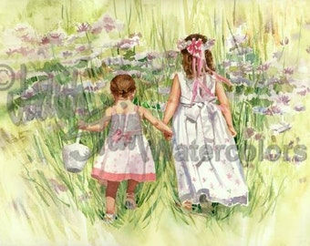 """Flower Girls, Sisters, Friends in White, Mauve Flowers, Bridal Party, Watercolor Painting Print, Wall Art, Home Decor, """"Down to the Meadow"""""""