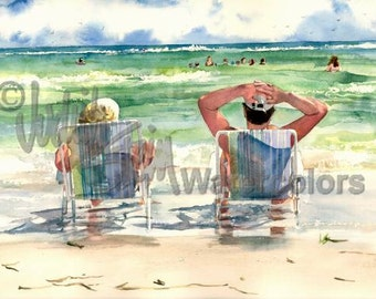 "Man & Woman Seashore Sunning, Beach Chairs, Watching Children, Seagulls Watercolor Painting Print, Wall Art, Home Decor, ""Seaside Loungers"""