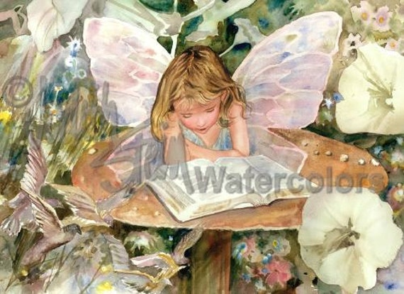 "Fairy, Nymph, Pixie, Fantasy, Reading, White Flowers, Bird, Children, Watercolor Painting Print, Wall Art, Home Decor, ""Mushroom Murmurings"""