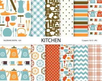 Kitchen Paper, retro kitchen digital paper, scrapbook paper, scrapbooking, instant download 624