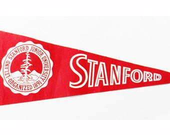 "Antique Stanford Pennant Full Size 29"" x 11.5"" 1940s"