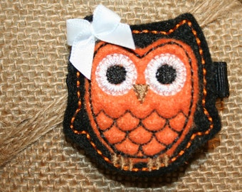 Halloween Black and Orange Felt Owl Hair Clip Baby Toddlers Girls