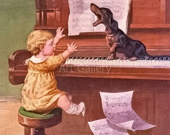 Dachshund SINGS on Piano Happy Baby Watches -Vintage / Antique Art Print  MAGNET dackel teckel