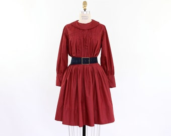 50s 60s Day Dress, Cranberry Red Smocked Shirtwaist full skirt pleated round collar long sleeve preppy Mad Men schoolgirl lolita party frock