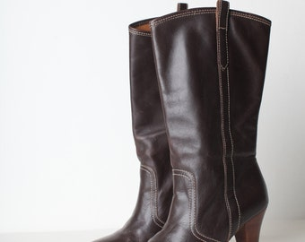Size 6 Women's Brown Leather High Heel Boots