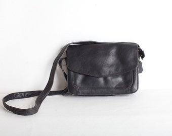 Vintage Black Leather Shoulder Bag, Crossbody Purse