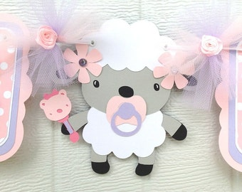 Its a girl lamb baby shower banner in pink and lavender