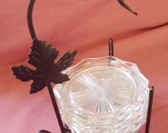 5 Vintage Crystal Wine Glass and Bottle Coasters with Maple Leaf Stand Cut Glass Elegant Table Setting