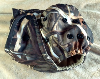 SassyCloth one size pocket diaper with realtree camo Max-4 print. Made to order.