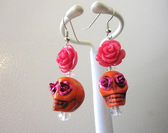 Sugar Skull Earrings Orange Pink Rose Flower