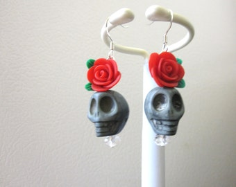 Sugar Skull Earrings Gray Red Rose Flower